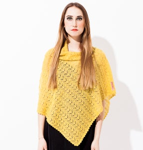 Image of Laceknitted poncho  Yellow