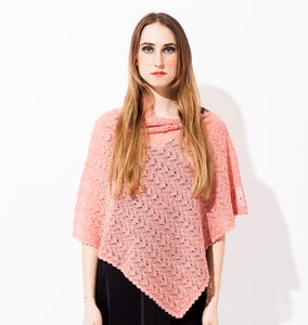 Image of Laceknitted poncho    Salmon