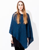 Image of Laceknitted BIG Poncho           Petrolblue