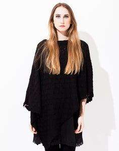 Image of Laceknitted BIG PONCHO BLACK