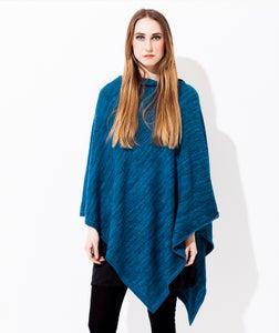 Image of Melange Knitted poncho   Turqouise