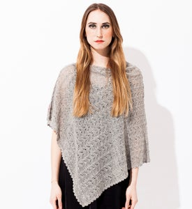 Image of Laceknitted poncho     Light Grey