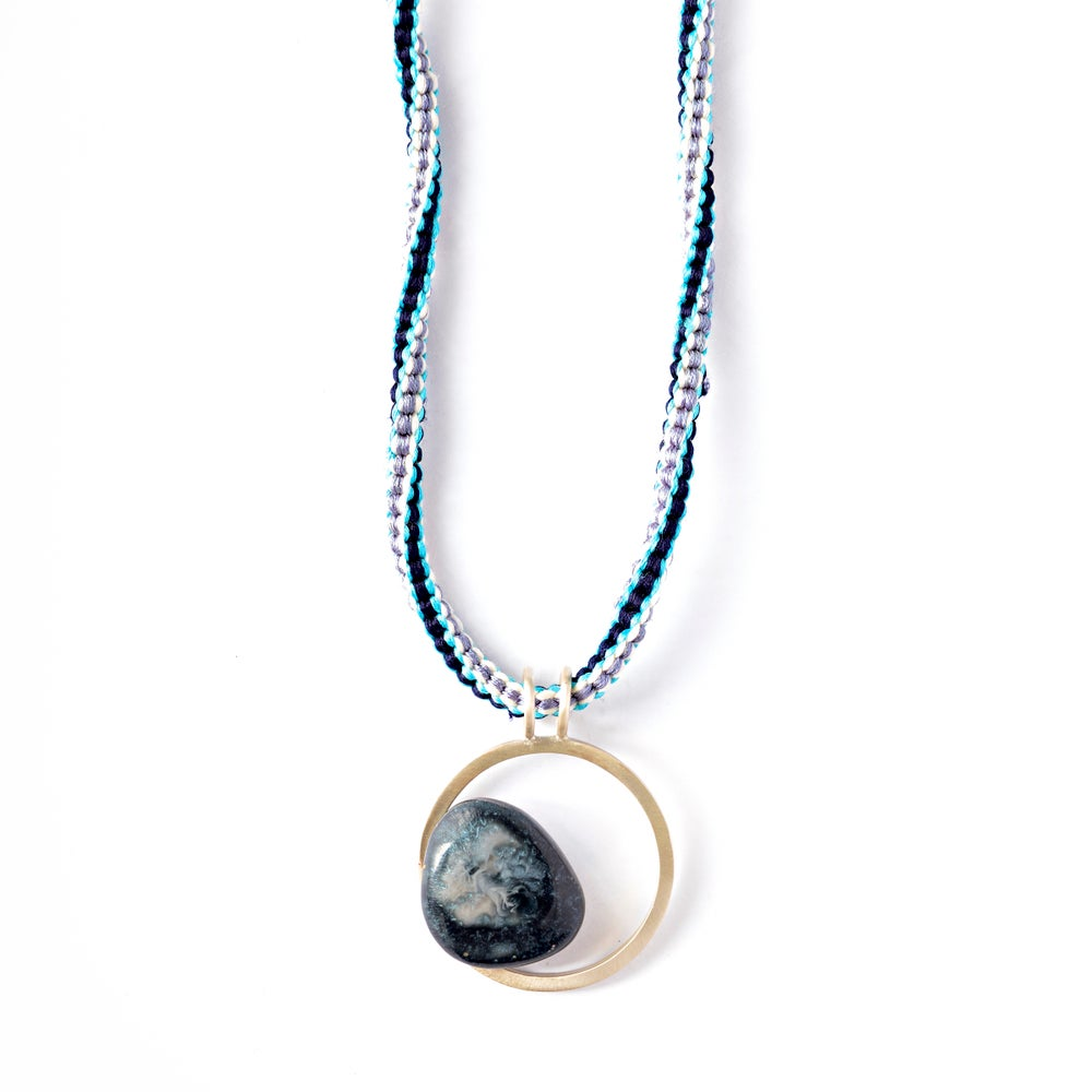 Image of Small Dark Blue + Grey Resin Pebble Necklace