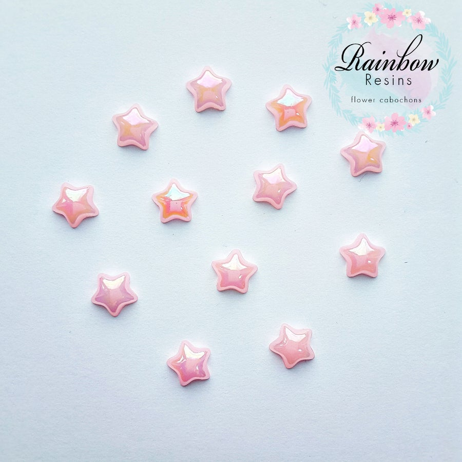 Image of Baby pink 12mm AB flatback stars x 12