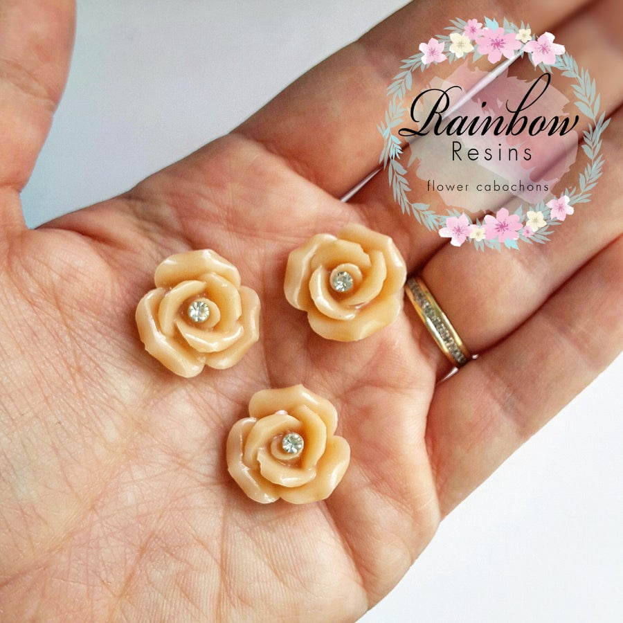 Image of Nude diamante roses x 4