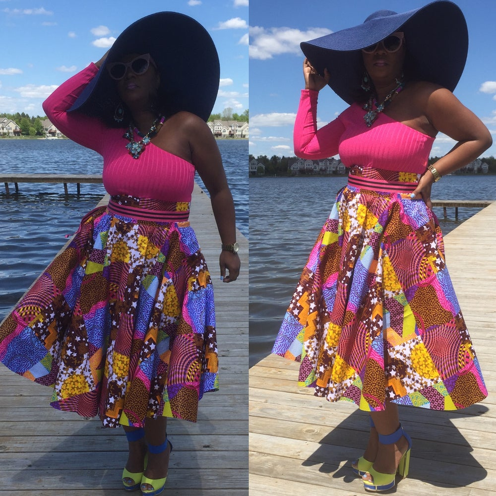 Image of Patchwork Midi Circle skirt