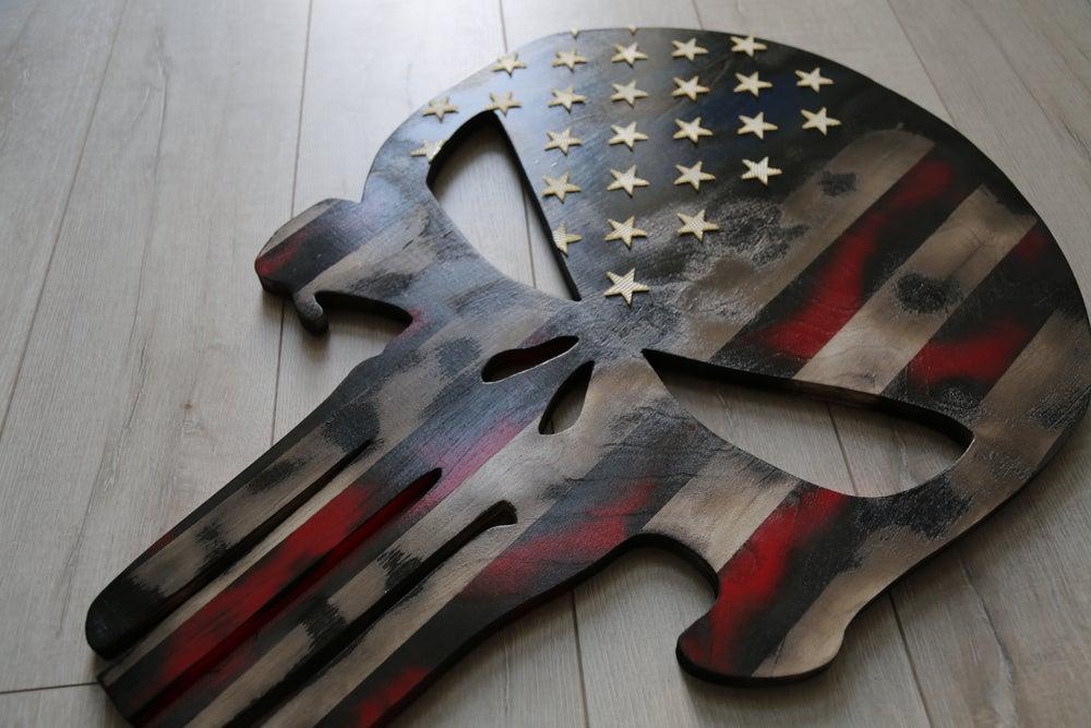 Image of Rustic Burnt Punisher American Flag: FIre Hose Stars