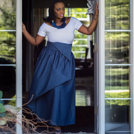 Image of Denim Maxi Skirt $120 White Off the Shoulder tee $20