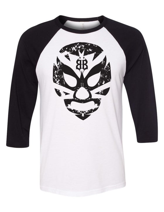 "Image of OFFICIAL - BEASTO BLANCO - MASK ""BLANCO"" 3/4 SLEEVE SHIRT"