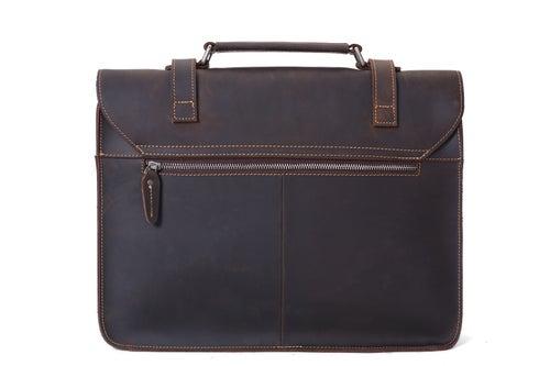 Image of Vintage Crazy Horse Leather Briefcase Men Messenger Bag Laptop Bag 6148