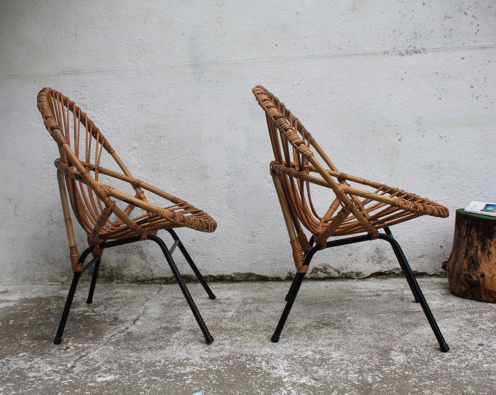 Image of Paire de fauteuils rotin corbeille années 60