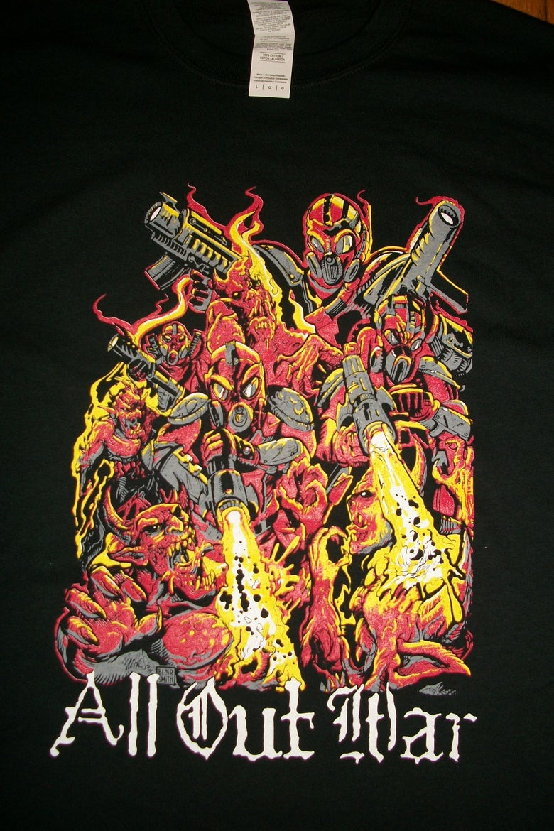 Image of ALL OUT WAR COLOR T SHIRTS (IN STOCK)