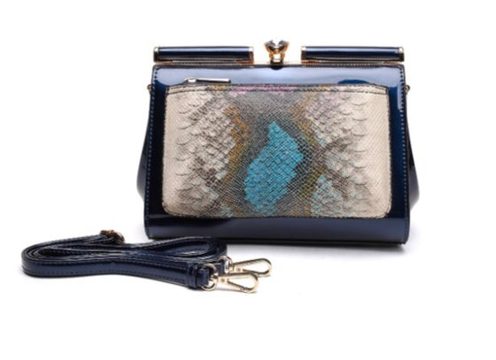 Image of Navy Patent Leather Bag