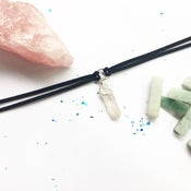 Image of Athena Choker - Clear Quartz + Vegan Friendly Faux Suede