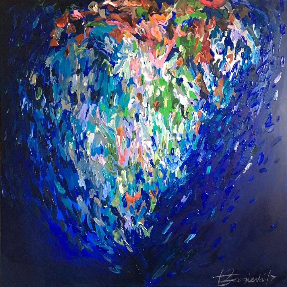 Image of 'Indigo heart' - 100x100cm