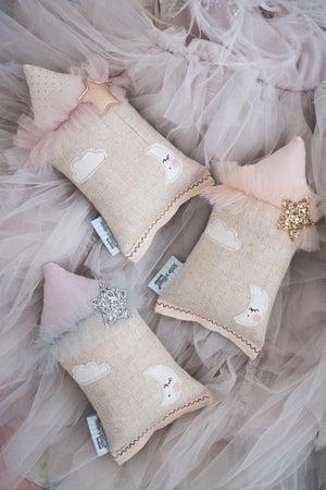 Image of Teeny Tiny cushion - Moon & Stars in Gold