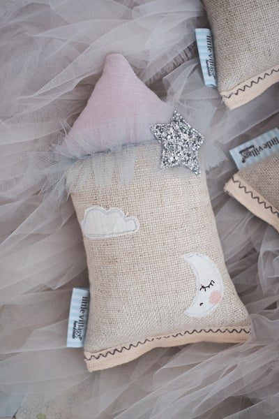 Image of PREORDER - Teeny Tiny cushion - Moon & Stars in silver