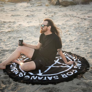 Image of Sunbathing For Satan Beach Blanket - Black