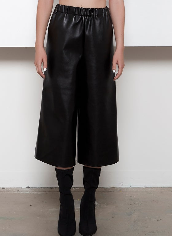 Image of Faux Leather culottes