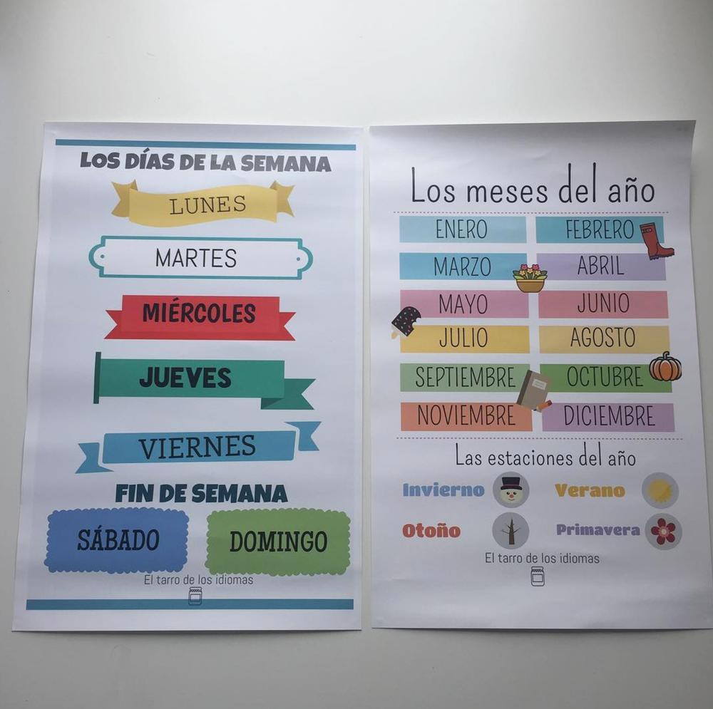 Image of Póster Días de la semana + Meses del año y estaciones