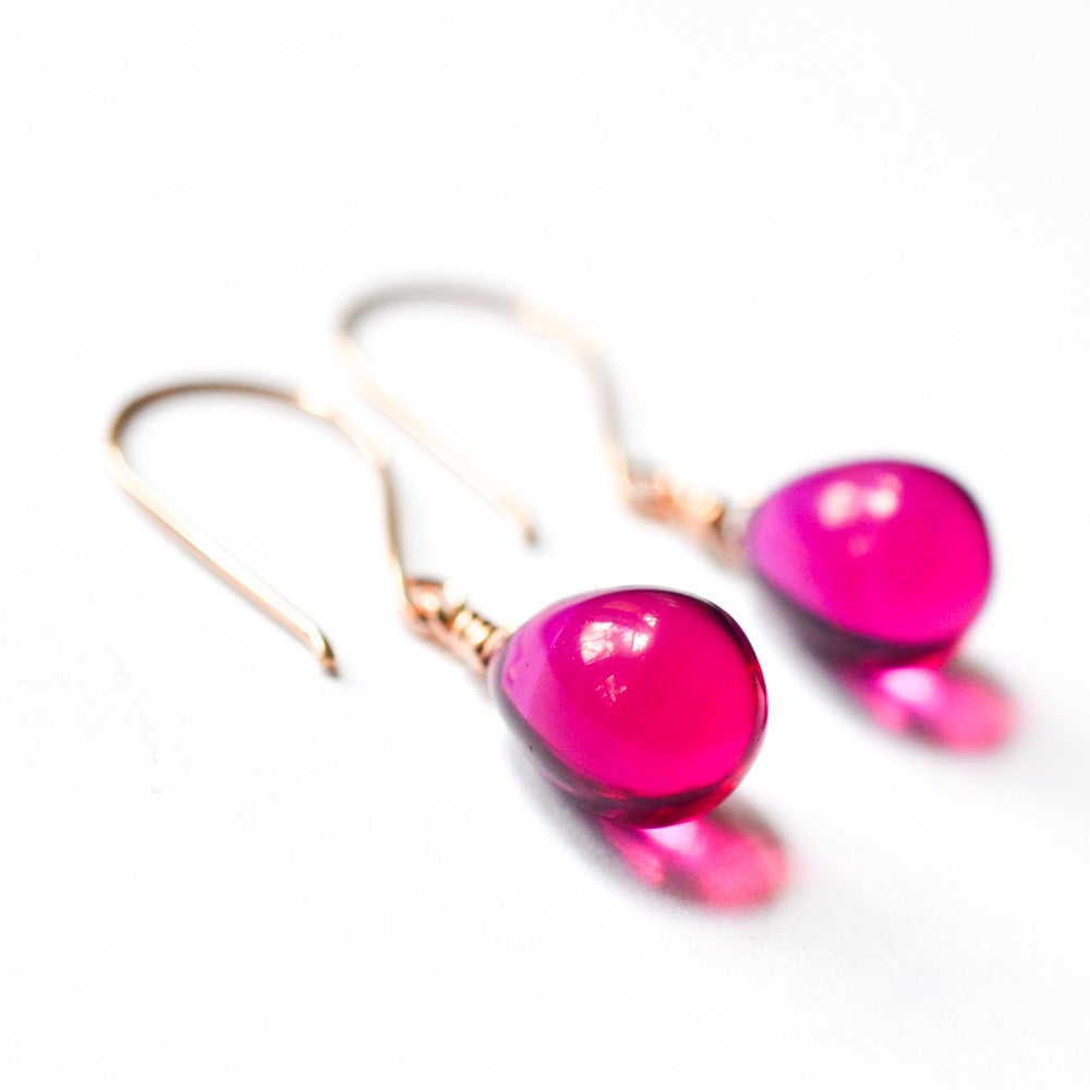 Image of Berry glass drop earrings