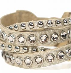 Image of Leather bracelet with multiple strands, studs, and swarovski crystals