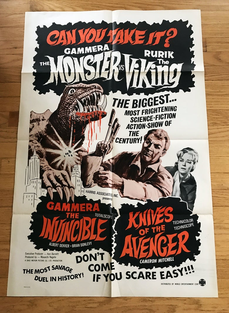 Image of 1966 GAMMERA THE INVINCIBLE/KNIVES OF THE AVENGER Original U.S. Double Bill One Sheet Movie Poster