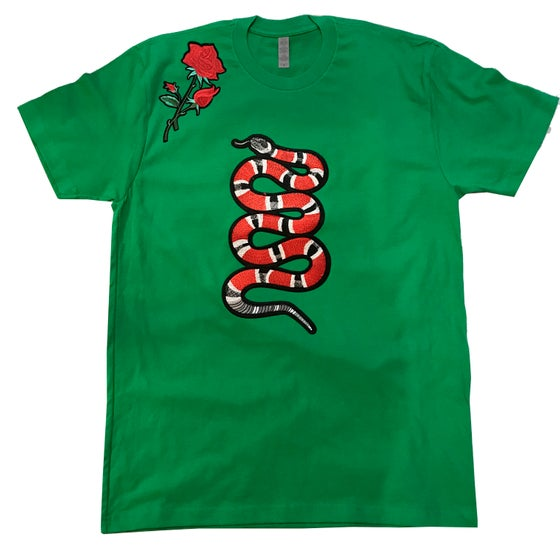 Image of SNAKE ROSE TSHIRT (GREEN)