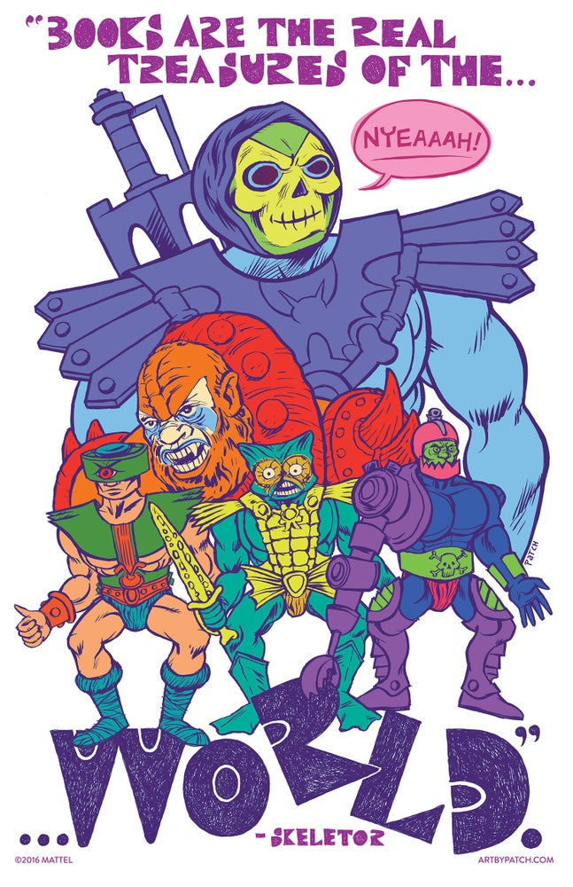 """Image of """"Books Are the Real Treasures of the World."""" Skeletor Poster by Patch"""