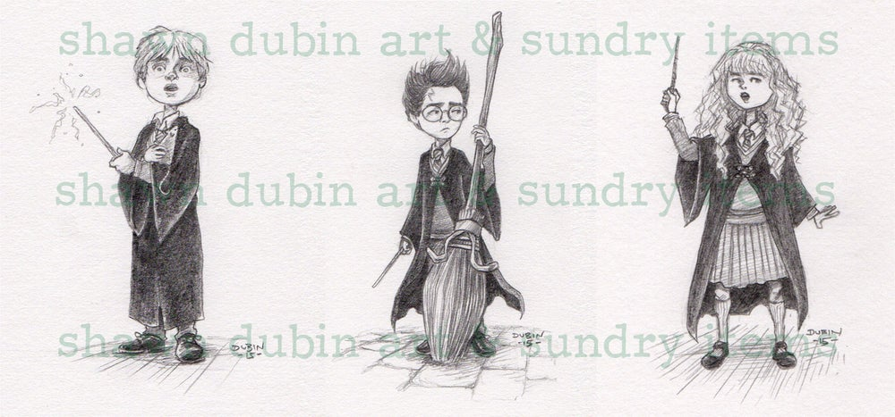 Image of Harry, Ron, and Hermione (set of 3 prints)