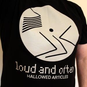 Image of MEDIUM T-shirt: 'Loud and Often' (grey on black)