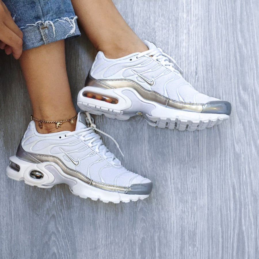 Image of Nike Air Max Plus Satin 'Metallic  Silver' (Grade School)