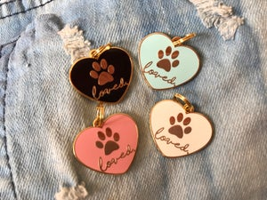 """Image of """"Loved"""" Heart Pet Tag/Charm"""