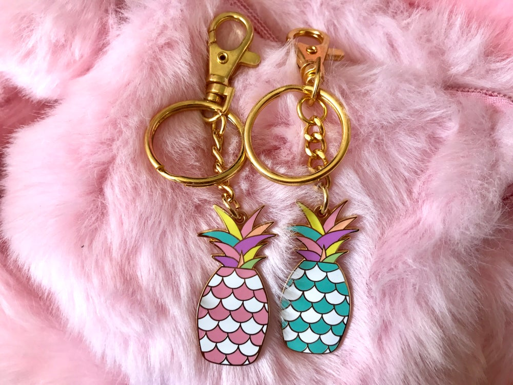 Image of Pineapple Rainbow Enamel Bag Charm/Keychain