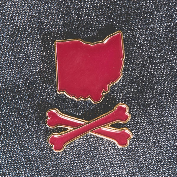 Image of Ohio and Crossbones™ Enamel Pin Wine and Gold