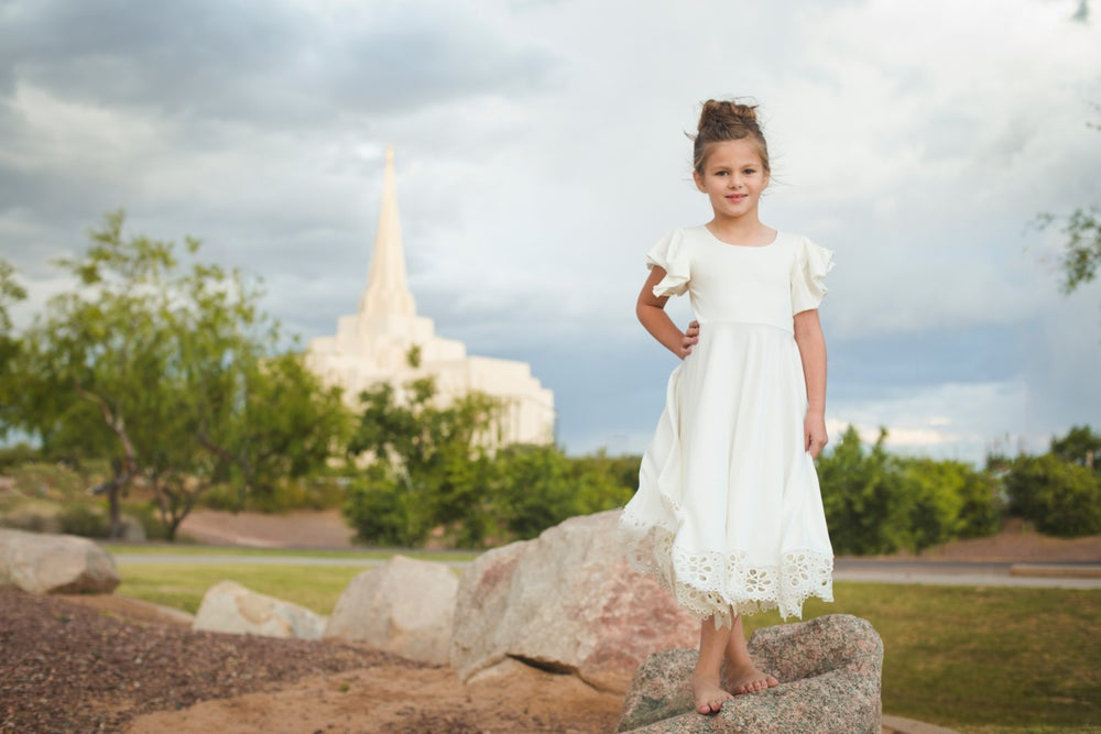 Image of Girls White Twirly Dress