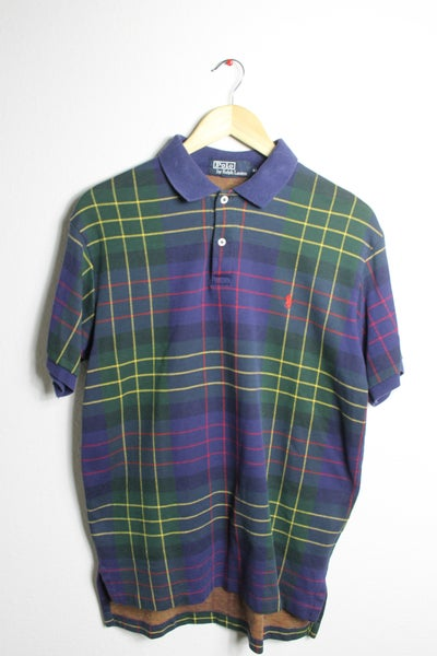 Image of Vintage Navy plaid Ralph Lauren polo