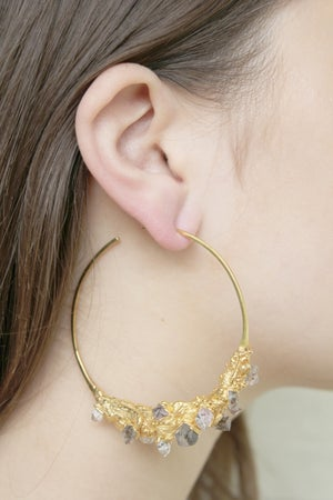 Image of Giant Herkimer Diamond + Yellow Gold Vermeil Hoops