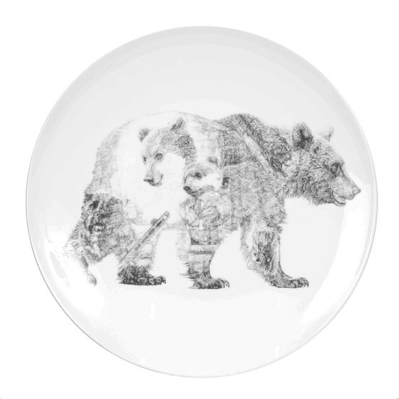 Image of MUMMY BEAR AND BABY BEAR LIMITED EDITION FINE ENGLISH BONE CHINA COUPE PLATE