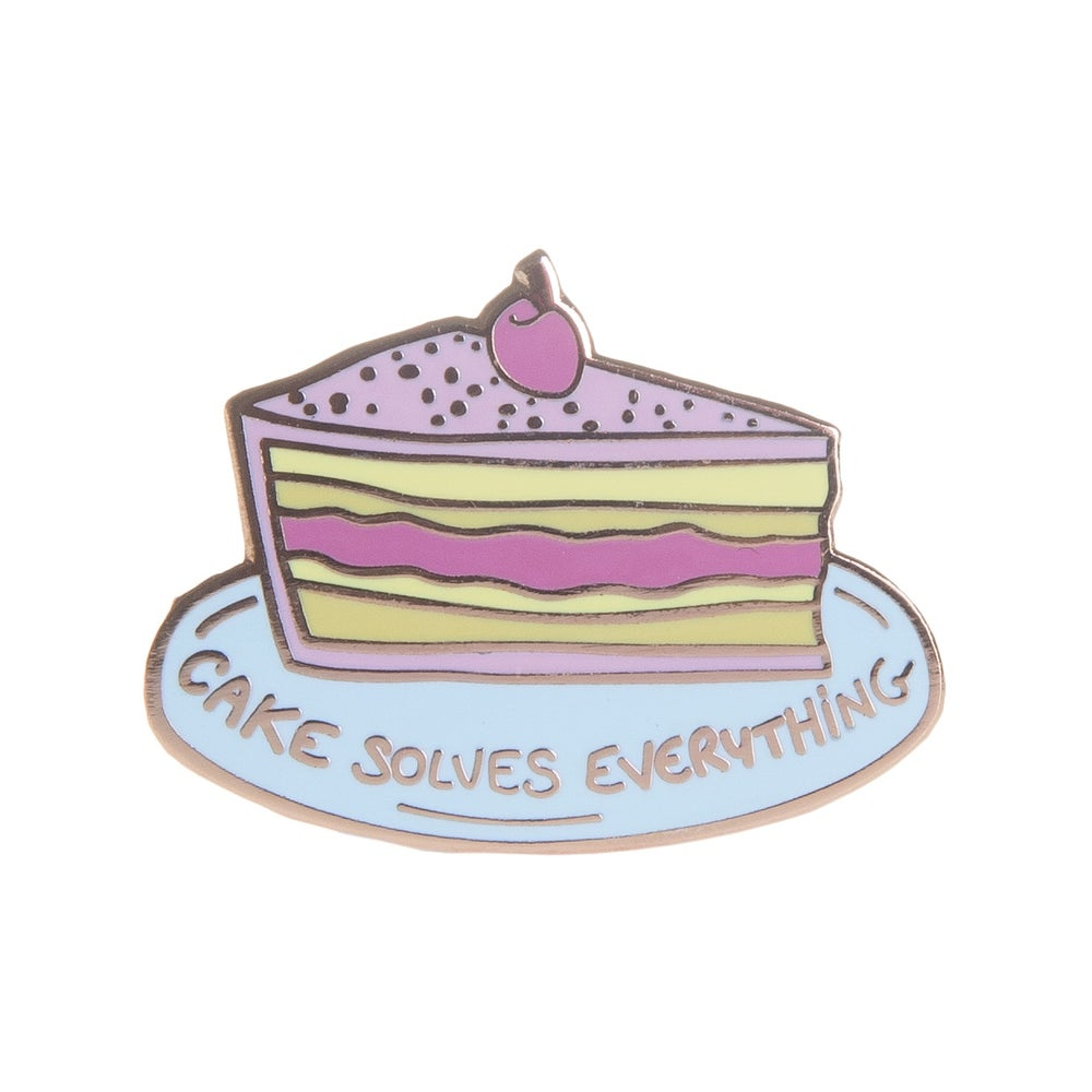 Image of Cake Solves Everything Enamel Pin
