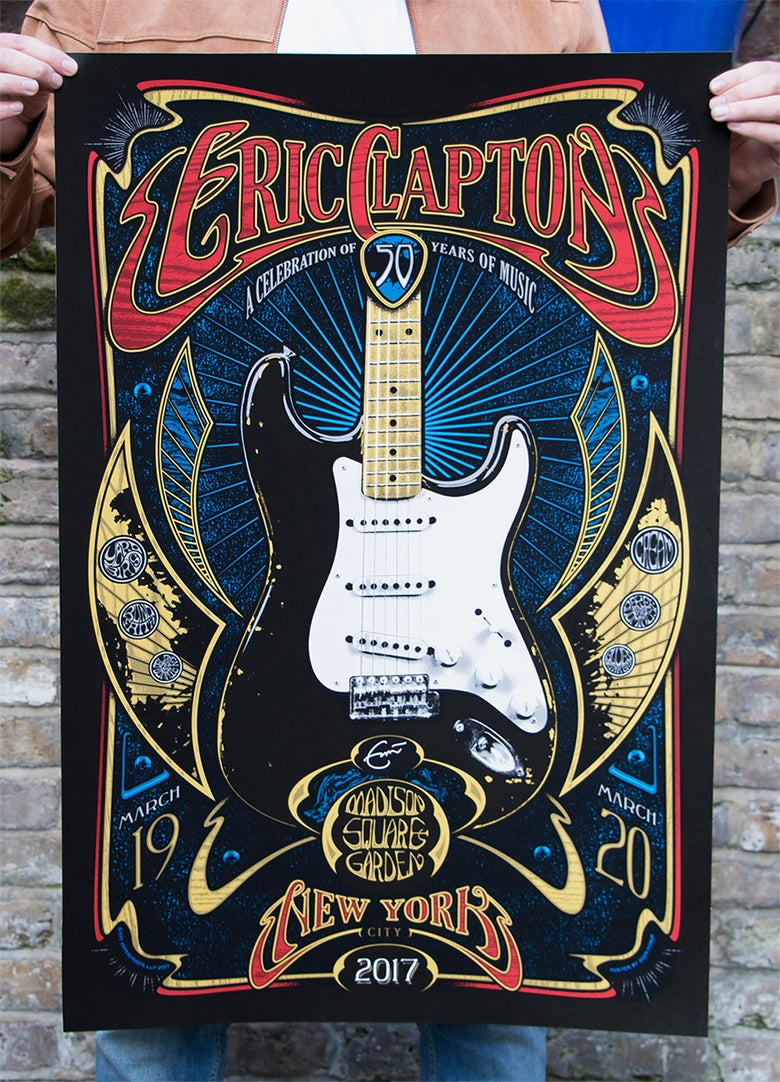 Image of SOLD OUT - NEW YORK Eric Clapton Madison Square Garden March 19 & 20 2017 SIlkscreen Poster