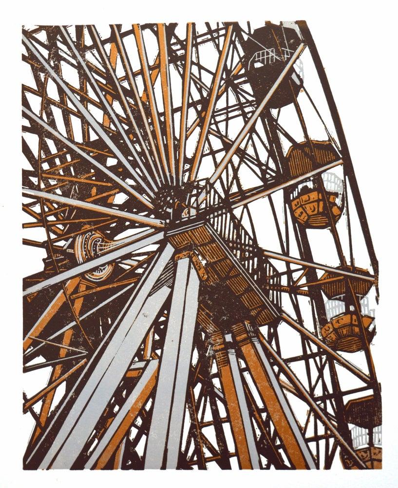 Image of Big Wheel - linocut print