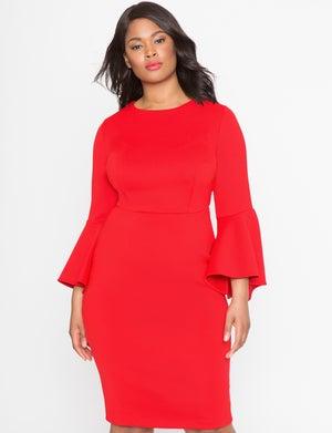 Image of Eloquii Studio Flare Sleeve Dress