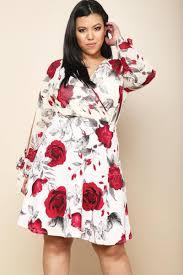 Image of Plus Size Rose Print Surplice Dress