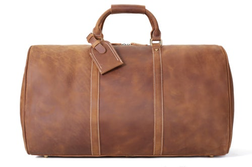 Image of Handmade Large Vintage Full Grain Leather Travel Bag, Duffle Bag, Holdall Luggage Bag 12027