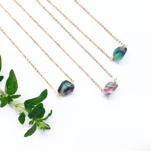Image of Lake Necklace - Fluorite Crystal, Gold Plated Brass / Sterling Silver