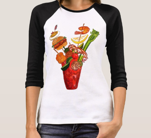 Image of Women's Outrageous Bloody Mary 3/4 Sleeve Raglan T-Shirt