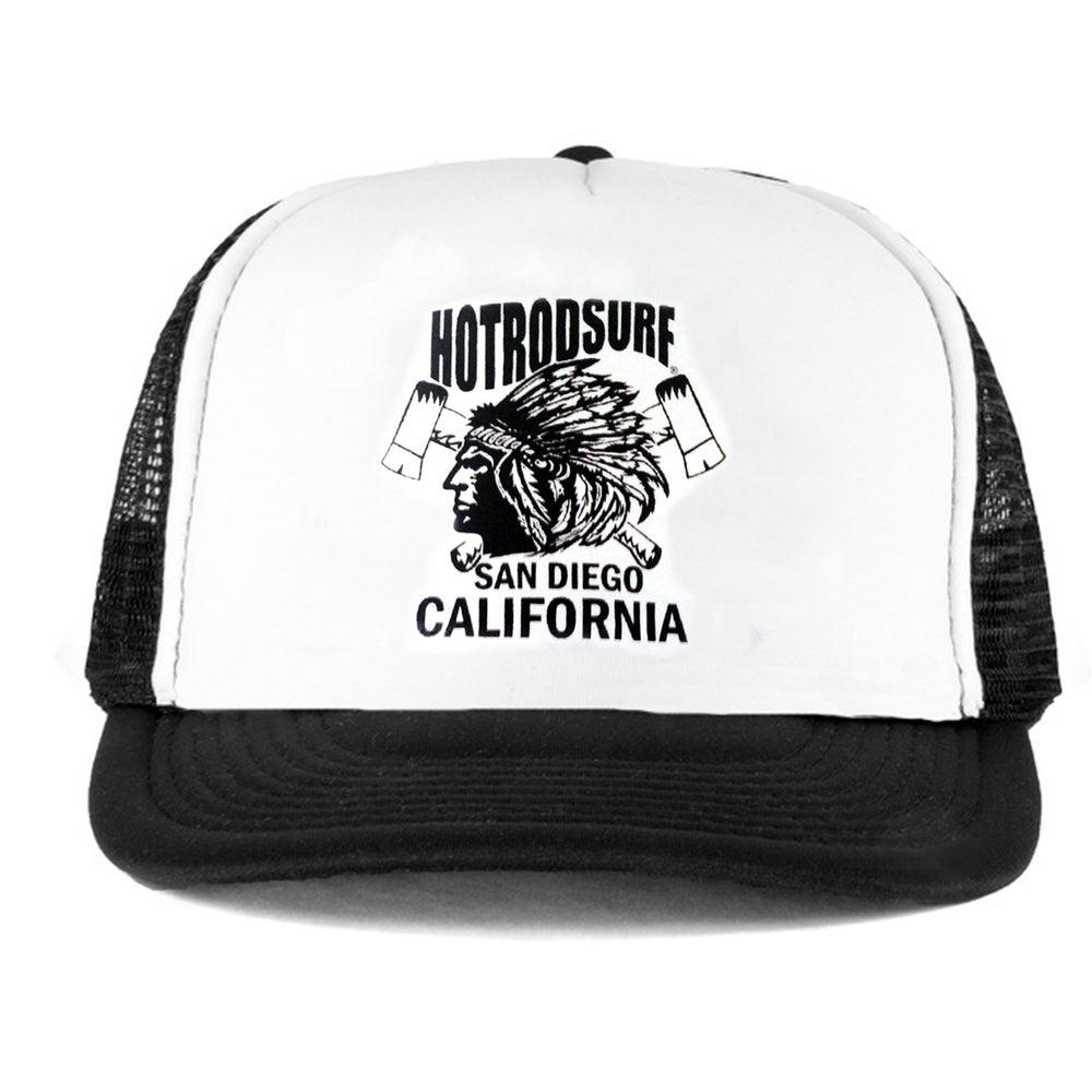Image of Chief SD CA  Hat ~ HOTRODSURF ~ Hot Rod Surf ® - Black/White