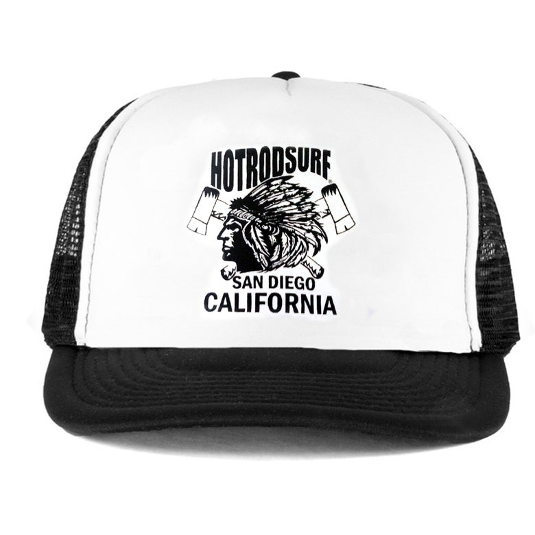 Image of Chief SD CA  Hat ~ HOTRODSURF ~ Hot Rod Surf ® - Black/White