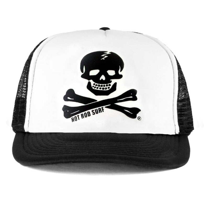Image of Skull & Bones Hat ~ HOTRODSURF ~ Hot Rod Surf ® - Black/White